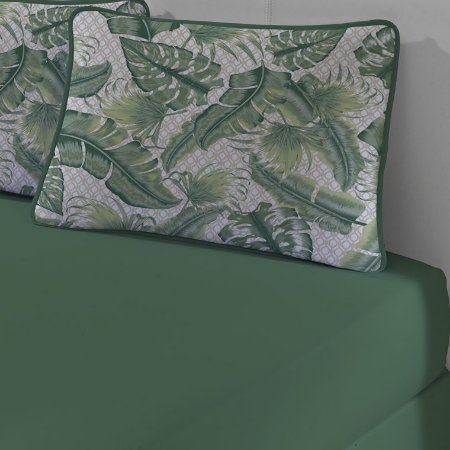 Jogo de Cama Solteiro de Malha 2 peças lençol com elástico e Fronha Edromania Verde Green