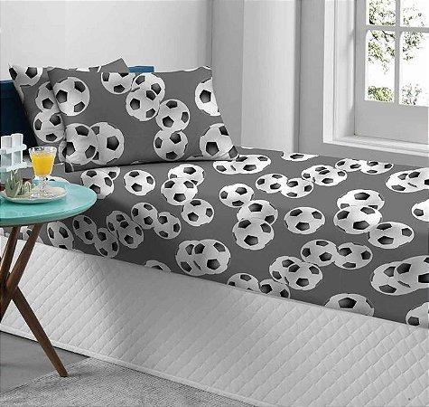 Jogo de Cama Solteiro 2 peças de Malha lençol com elástico Portallar e Fronha Estampado Bolas
