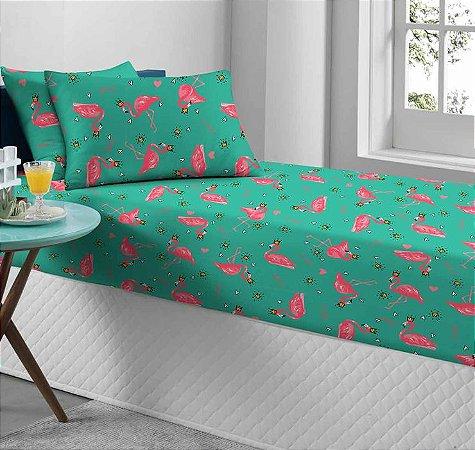 Jogo de Cama Solteiro 2 peças de Malha lençol com elástico Portallar e Fronha Estampado Flamingo