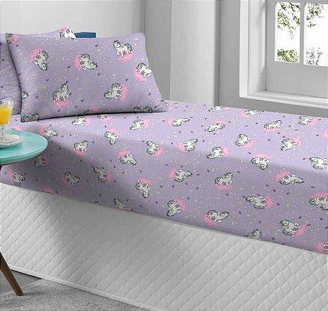 Jogo de Cama Solteiro 2 peças de Malha lençol com elástico Portallar e Fronha Estampado Unicórnio Místico