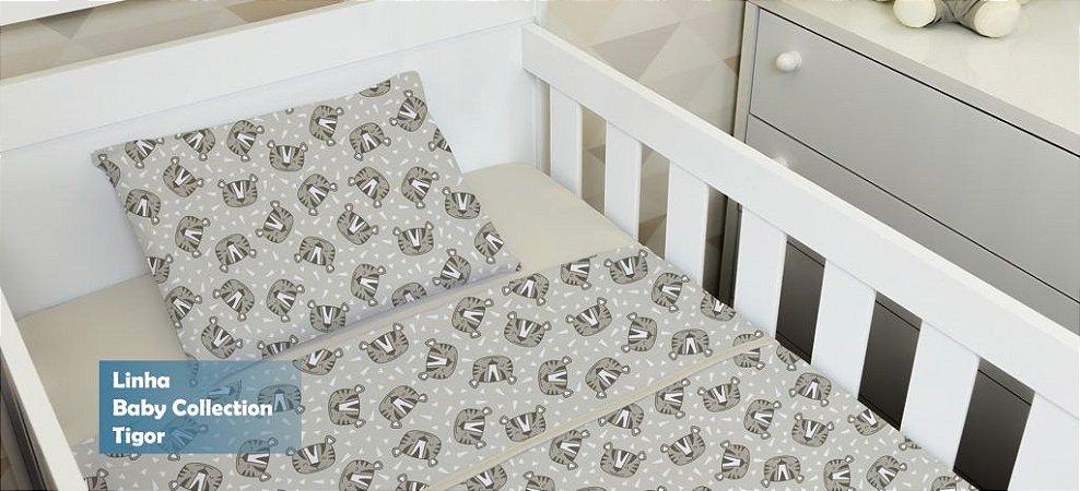 Jogo de Berço Bebê de Malha 100% algodão 2 peças Edromania Bege Tigor Tigre