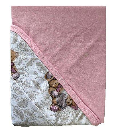 Jogo de Berço Bebê de Malha 100% algodão 2 peças Edromania Rosa Ursinha