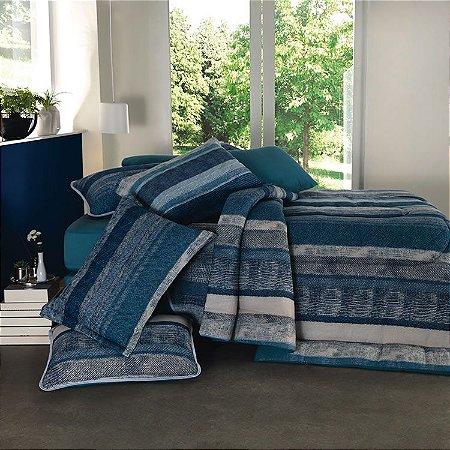 Jogo de Cama Queen 3 peças de Malha 100% algodão lençol com elástico liso e fronhas estampadas Vivaldi Helsinke