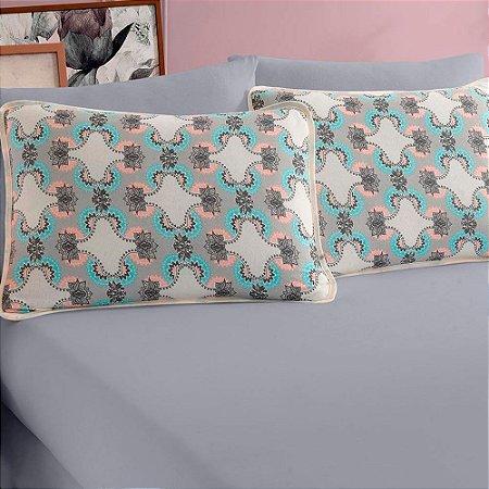 Jogo de Cama Casal  3 peças de Malha 100% algodão lençol com elástico liso e fronhas estampadas Vivaldi Londres