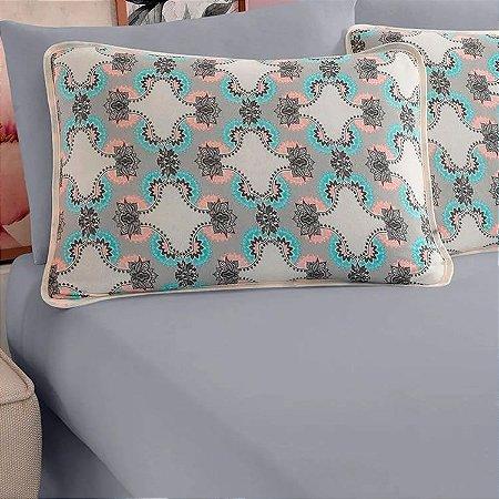 Jogo de Cama Solteiro 2 peças de Malha 100% algodão lençol com elástico liso e fronha estampada Vivaldi Londres