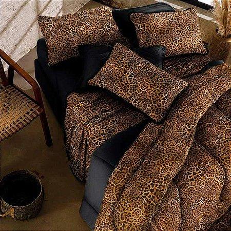 Jogo de Cama Solteiro 2 peças de Malha 100% algodão lençol com elástico liso preto e fronha estampada Vivaldi Onça Congo