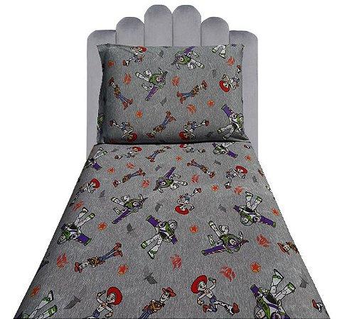 Jogo de Cama Solteiro 2 peças Malha lençol com elástico estampado e Fronha Toy Story