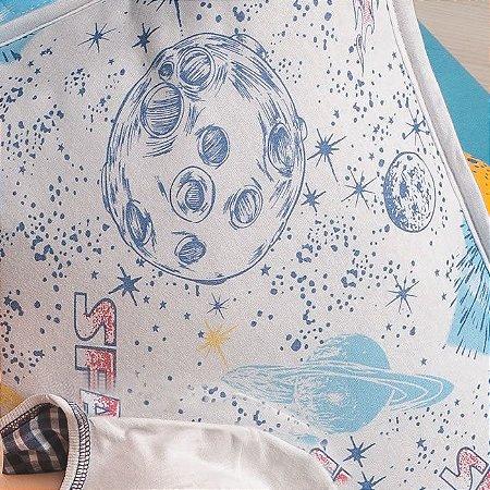 Jogo de Cama Solteiro 2 peças lençol com elástico liso e fronha estampada de Malha 100% algodão Vivaldi Kids Espacial Space