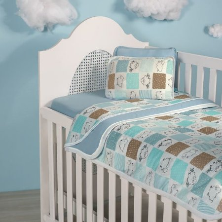 Jogo de Lençol de Berço 3 peças de Malha 100% algodão Vivaldi Baby Ovelhinhas Azul