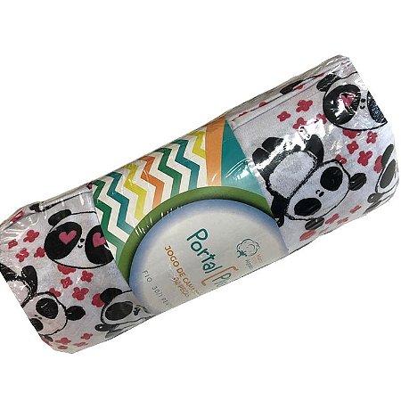Jogo de Cama Solteiro 2 peças estampadas de Malha lençol com elástico estampado e fronha Panda Love