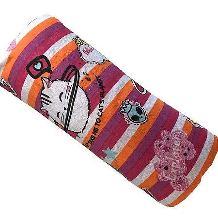 Jogo de Cama Solteiro 2 peças estampadas de Malha lençol com elástico estampado e fronha Gato Astronauta