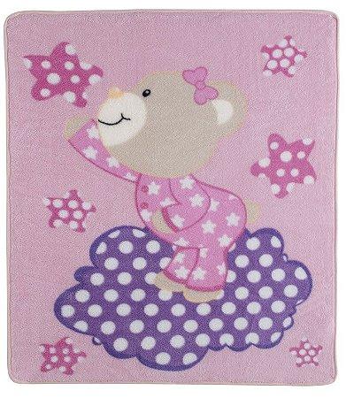 Cobertor para Berço Baby Soft Super Macio Ursinha Estrelar Rosa