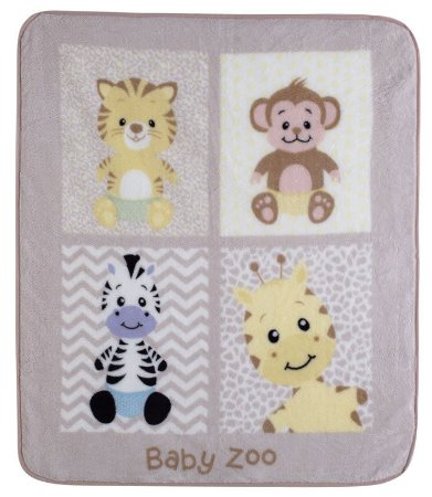 Cobertor para Berço Baby Soft Super Macio Animais Baby Zoo