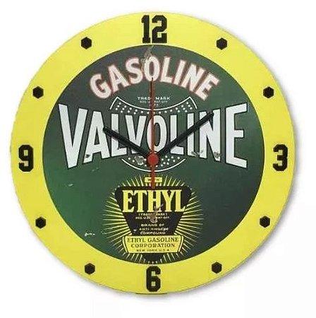 Relógio Parede MDF em relevo, Valvoline, Vintage, Garagem, Carro, Bar