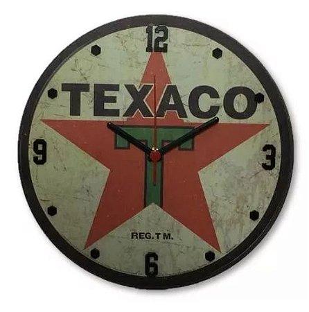 Relógio Decorativo De Parede MDF Texaco em alto relevo Quartzo