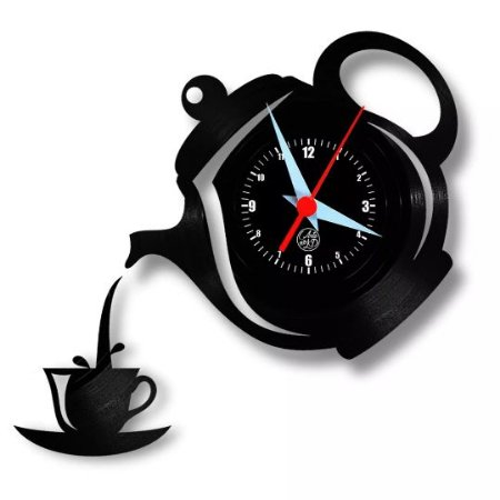 Relógio de Parede Bule e Xicara Cozinha Vinil LP Disc