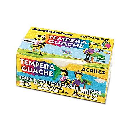 Tempera Guache c/ 6 cores de 15ml Acrilex