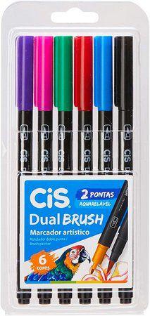 Kit Caneta Dual Brush Aquarelável C/6 Cores Cis