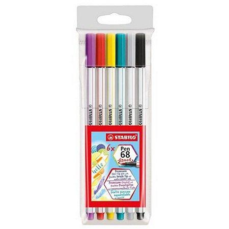 Kit Caneta Brush Pen 68 C/6 Stabilo