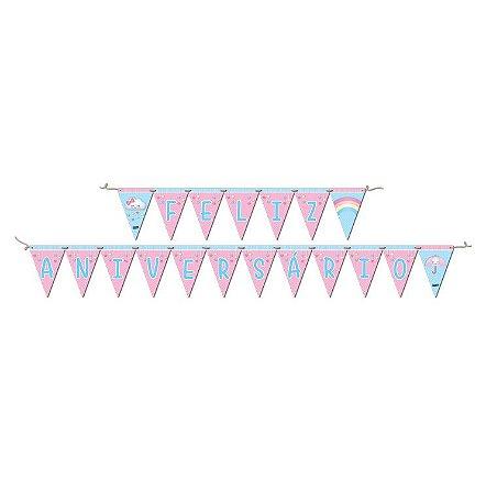 Faixa Feliz Aniversário Chuva de Amor - Maricota Festas