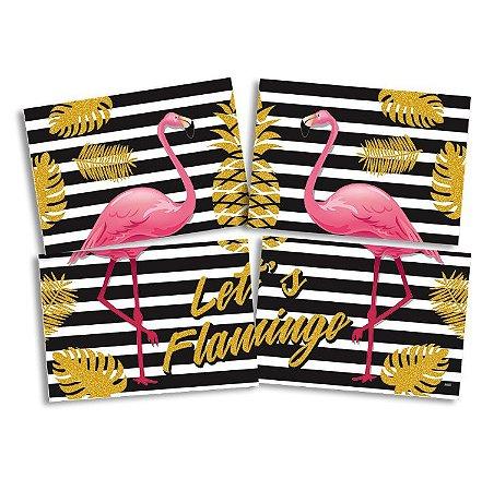 Painel 4 Partes 1,28M x 90CM Flamingo