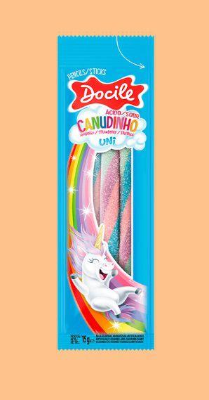 Display C/12 Pacotinhos de Canudinho de Morango Color 15G - Maricota Festas