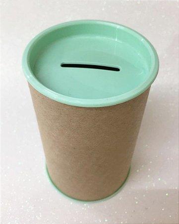 Cofrinho de Papelão Tampa Verde Claro 10x6 - Unidade. Maricota Festas