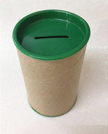 Cofrinho de Papelão Tampa Verde Escuro 10x6 - Unidade. Maricota Festas
