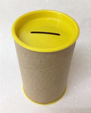 Cofrinho de Papelão Tampa Amarela 10x6 - Unidade. - Maricota Festas