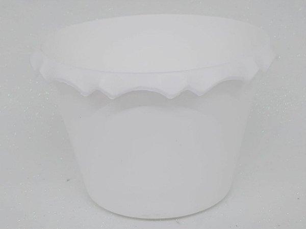 Cachepot Plastico C/ Borda Branco - Unidade. Maricota Festas