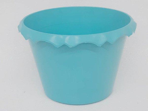 Cachepot Plastico C/ Borda Azul Tifany - Unidade. Maricota Festas