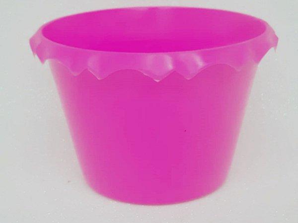 Cachepot Plastico C/ Borda Pink - Unidade. Maricota Festas