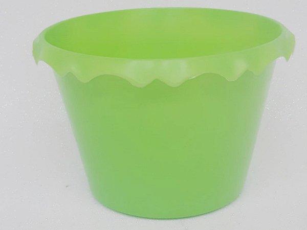 Cachepot Plastico C/ Borda Verde Fluor - Unidade. Maricota Festas