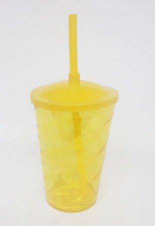 Copo Twister 400ml Tampa e Canudo Amarelo Unidade - Maricota Festas
