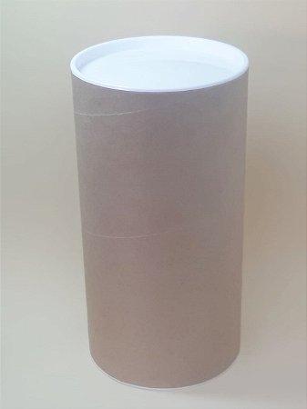 Tubo Lata Kraft 10x32 cm tampa plástica Branca - ideal para garrafas