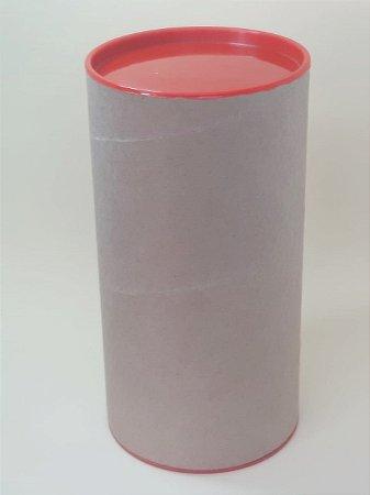 Tubo Lata Kraft10x32 cm tampa plástica Vermelha - ideal para garrafas
