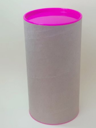 Tubo Lata Kraft10x32 cm  tampa plástica Pink  - ideal para garrafas