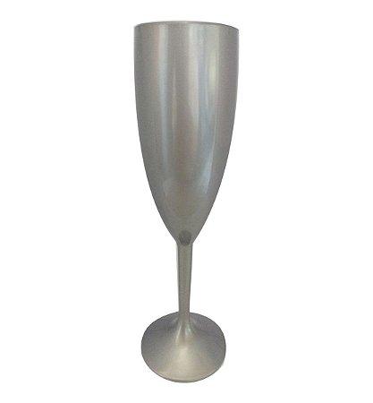 Taça de Champanhe Acrílica Prata - Maricota Festas