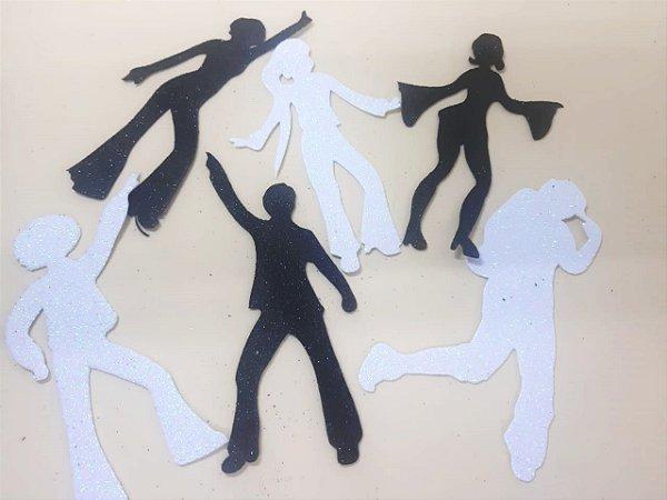 Aplique em EVA Dance Preta/Branca - c/ 6 Unid.  - Maricota Festas