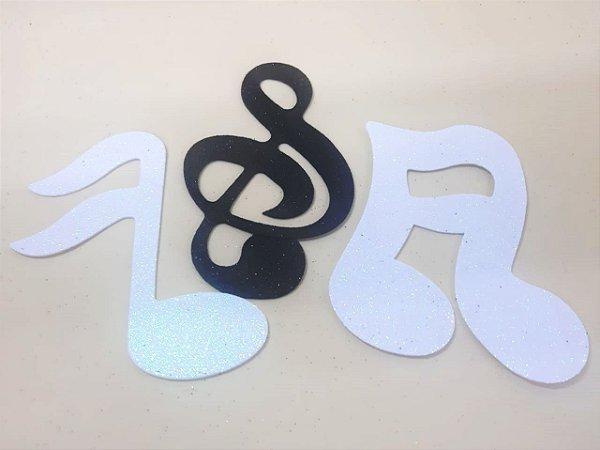 Aplique em EVA Notas Musicais Preto e Branco - c/04Unid.  - Maricota Festas