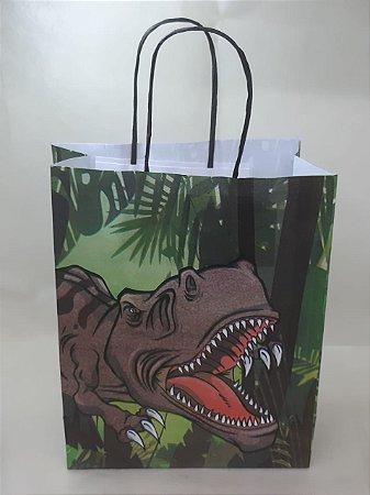 Sacola Kraft Dinossauro 18x9x22cm c/10 Unid. - Maricota Festas