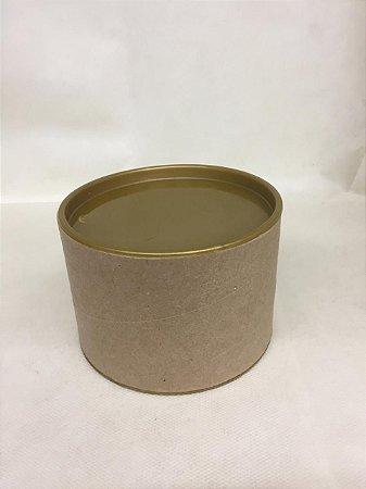 Tubo Lata kraft c/ tampa Plástica Dourada 7x10cm - Maricota Festas