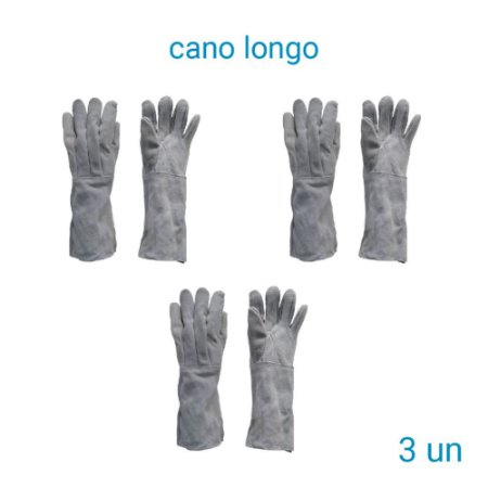 Luva De Raspa Couro Cano Longo - 3 Pares