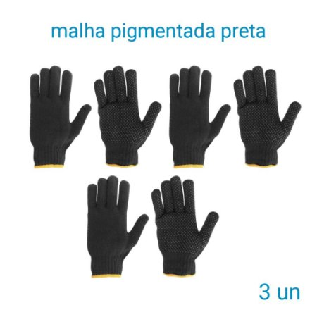 Luva De Malha Pigmentada Preta  -3 Pares