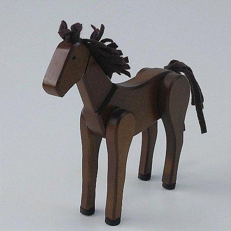 Cavalo de Madeira Articulado Marrom