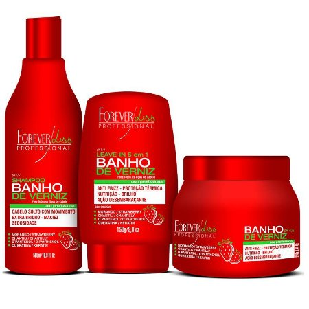 Kit Banho de Verniz Morango (Shampoo + Mascara 250g + Leave-in) - Forever Liss