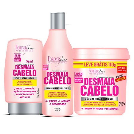 Kit Desmaia Cabelo (Shampoo + Máscara 350g + Leave-in) - Forever Liss