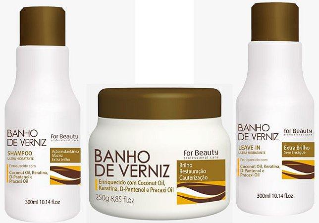 Kit Banho de Verniz (3 itens) For Beauty
