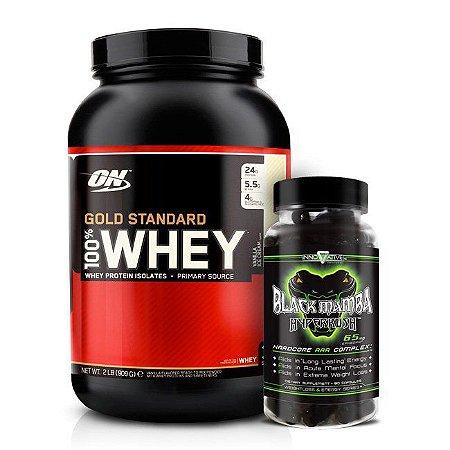 a2b1fd428 Combo 100% Whey Gold Standard 909g Optimum Nutrition + Black Mamba 90  Cápsulas