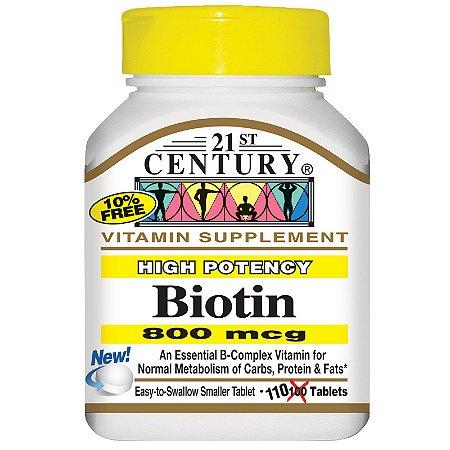 Biotina 800mcg 110 Tabletes 21st Century